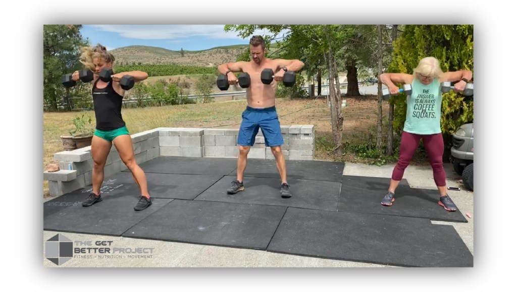 Doing a workout with mom and emily in Chelan