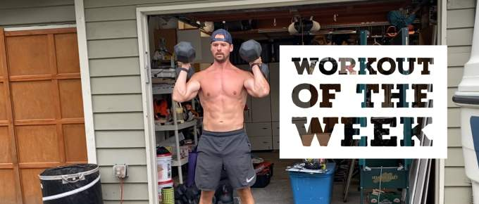 Workout of the Week - Linda'ish working out outside of the garage with Joe Bauer and shirt off