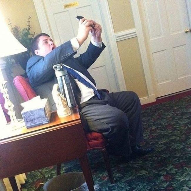 iş yerinde selfie