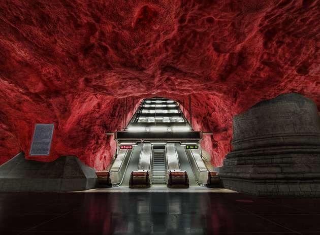 Solna Metro İstasyonu, Stockholm, İsveç