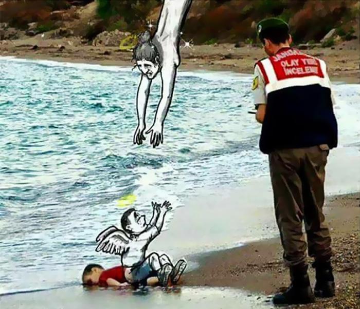 Denizde boğulan suriyeli göçmen çocuk aylan kurdi çizimleri 10