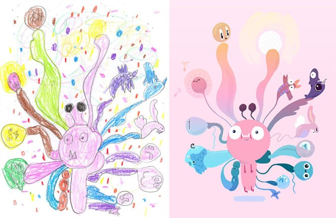 çocuk çizimleri canavarlar illüstrasyon