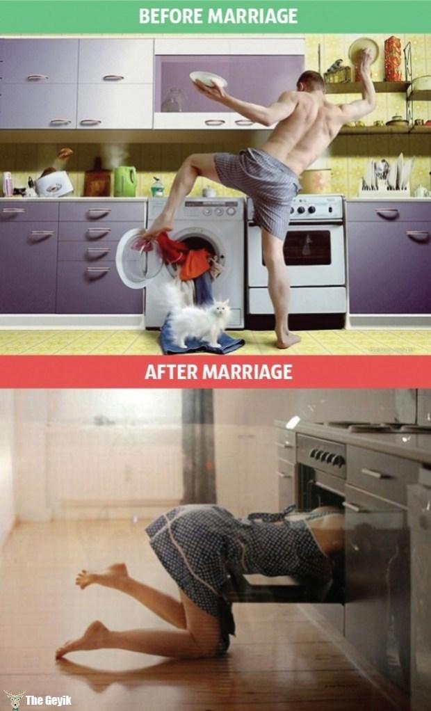 evlillikten önce evlilikten sonra