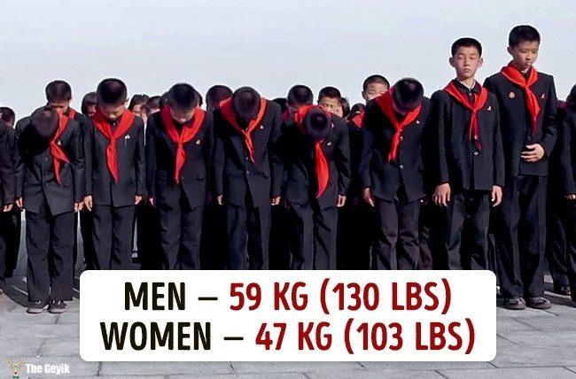 Ülkelere göre ortalama kilolar 15