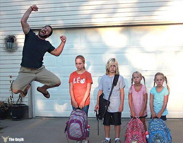 Okulun ilk günü - çocuklarını okula gönderdiğine sevinen aileler 8
