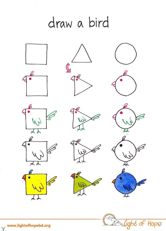Kare üçgen Ve Yuvarlak Kullanarak Nasıl Hayvan Resmi çizilir The