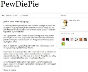 pewdiepie just to clear things up post