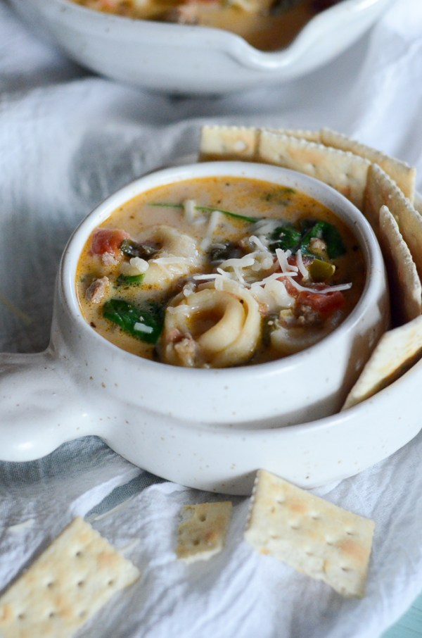Sausage and Cheese Tortellini Soup - Easy Stovetop Tortellini Soup - The Gifted Gabber