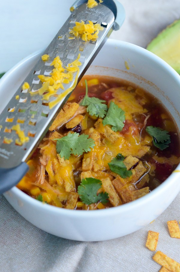 This Spicy Chicken Tortilla Soup is an easy soup recipe. It is a perfect fall soup or anytime soup! - The Gifted Gabber