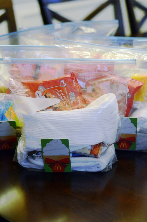 Compassion Bags with McDonald's Gift Cards and Toiletries