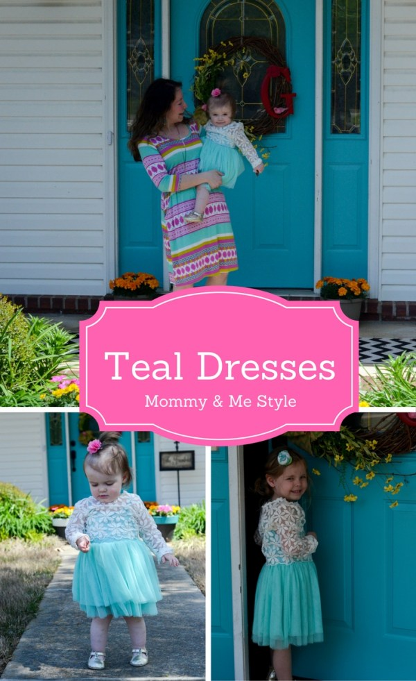 Teal dresses for sisters and a coordinating dress for mommy. Kid Style. Little Girl Style. Little Girl Fashion. Mommy Style. Mommy and Me Style. Mommy and Me Outfits. Spring Outfits. Lace Dresses. Tulle Dresses. Tulle Skirts. Women's Fashion. Women's Style - The Gifted Gabber