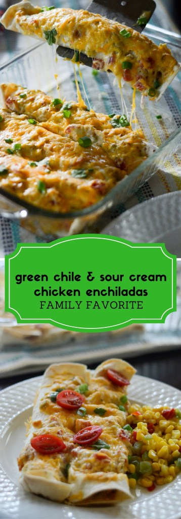 Green Chile Sour Cream Chicken Enchiladas - The Gifted Gabber