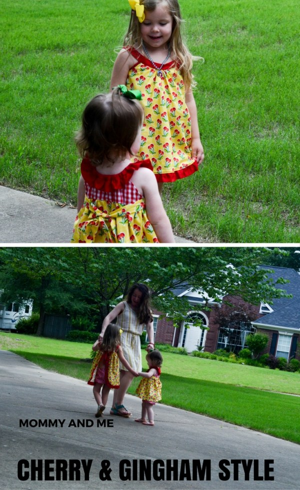 Mommy and Me Cherry and Gingham Style - Cherry Dresses - Cherry Outfits - Yellow Dresses  - Mommy and Me Style - Mommy and Me Fashion - Little Girl Style - Little Girl Outfit Ideas - Coordinating Outfits - Mommy Style - Mommy Fashion - Women's Fashion - Summer Style - The Gifted Gabber