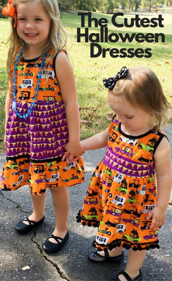 These handmade Halloween dresses are so festive! Halloween Style - Kid Style - Little Girl Fashion - Little Girl Style - Halloween Dresses - Handmade Dresses - Holiday Style - Coordinating Outfits for Sisters - http://thegiftedgabber.com/