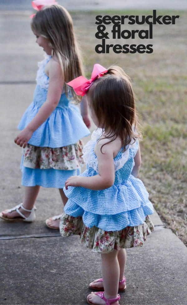 Seersucker Dresses - Seersucker Easter Dresses - Dresses for Girls - Coordinating dresses for sisters - Mommy and Me Style - Mommy and Me Outfits - Blue Dresses - Floral Dresses - Spring Dresses - Spring Outfit Ideas - What We Wore - Mommy-and-Me Easter Dresses - Easter Style - Toddler Style - Mommy-and-Me Style - The Gifted Gabber