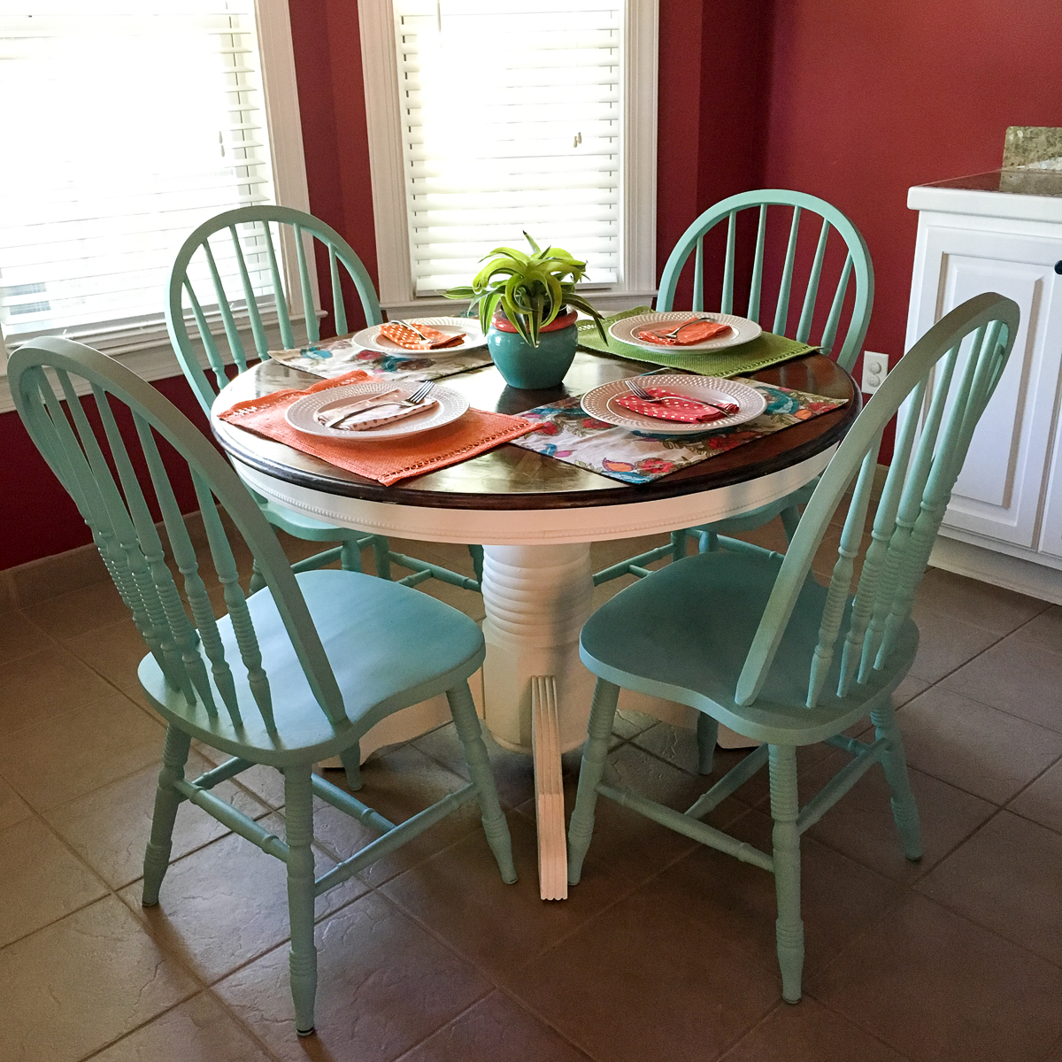 Turquoise and White Kitchen Table