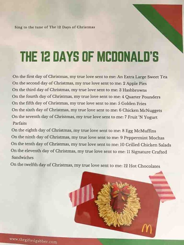 The 12 Days of McDonald's - Cheeky and Free Printable to go with McDonald's Gift Card - #giftcardideas #christmasgiftideas - The Gifted Gabber