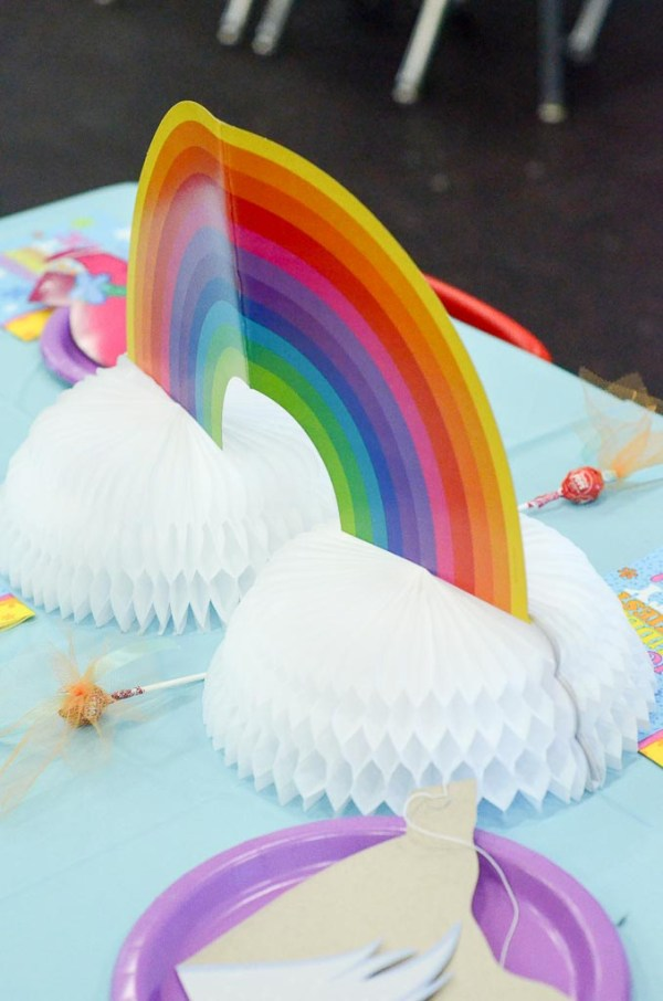 Rainbow centerpiece for Trolls Birthday Party - The Gifted Gabber