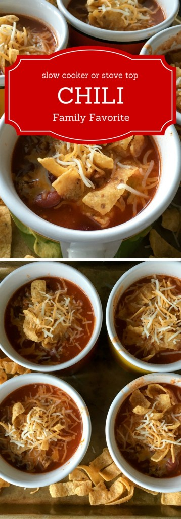 Easy Chili Recipe - served with fritos makes the perfect hearty meal. Prepare it as a slow cooker chili or a stove top chili - The Gifted Gabber