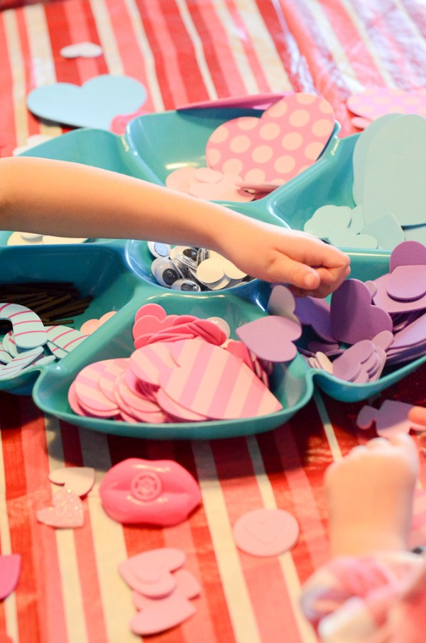 little girls doing crafts for Galentine's party for little girls - The Gifted Gabber