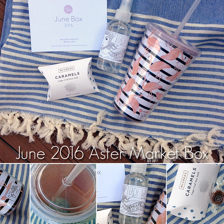 june_aster_market_box_beach_towel_gourmet_caramel_candy_beach_waves_flamingo_straw_bottle