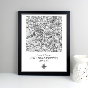 Personalised 1805 - 1874 Old Series Map Compass Black Framed Print