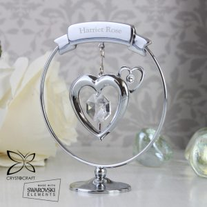 Personalised Name Only Crystocraft Heart Ornament