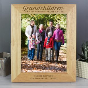 Personalised 'Grandchildren are a Blessing' 10x8 Wooden Photo Frame