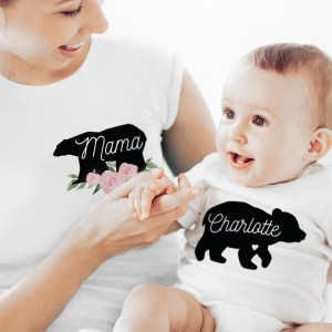 Personalised Mother & Baby Mama Bear T-Shirt And Vest Set (Large & 0-3mths)