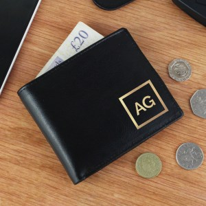 Personalised Gold Initials Leather Wallet