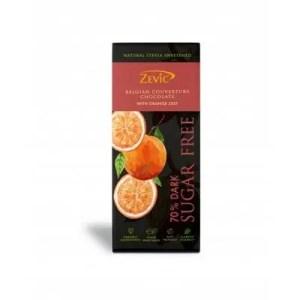 Zevic Belgian Couverture Chocolate Bar Sugar Free with Orange Zest 40g