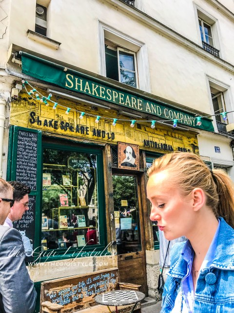 The famous Shakespeare and Company bookstore along Rue de la Bucherie
