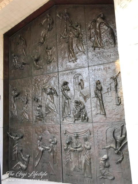 The beautiful relief on the south door of the Basilica of the Annunciation