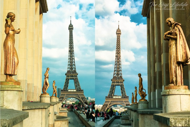 A view of the Eiffel Tower from the left and right side of the Trocadero