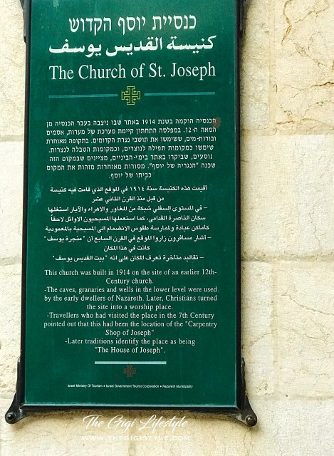 The inscription by the door of the St. Joseph Church inside the Basilica premises