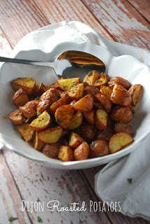 These potatoes!  Without a doubt, they will seriously make an impression at your dinner table! These Dijon Roasted Baby Potatoes are the perfect side.