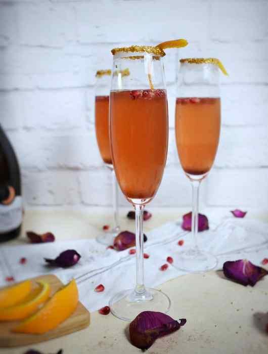Champagne Cocktail Recipe - Orange and Pomegranate