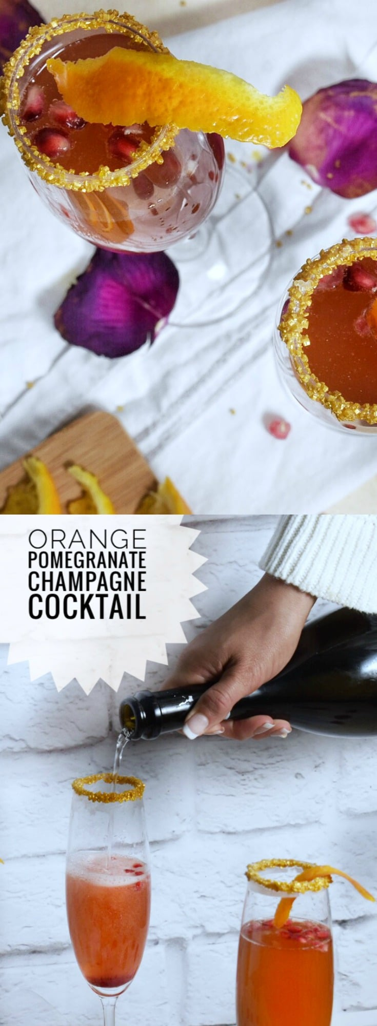 This easy & festive cocktails are the perfect way to ring in the New Year! Celebrate with this gorgeous and bright Orange Pomegranate Champagne Cocktail!