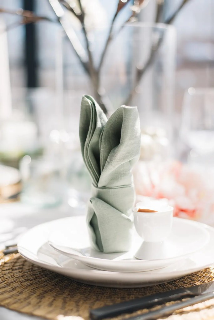 A bunny napkin makes a cute addition to an Easter table setting!