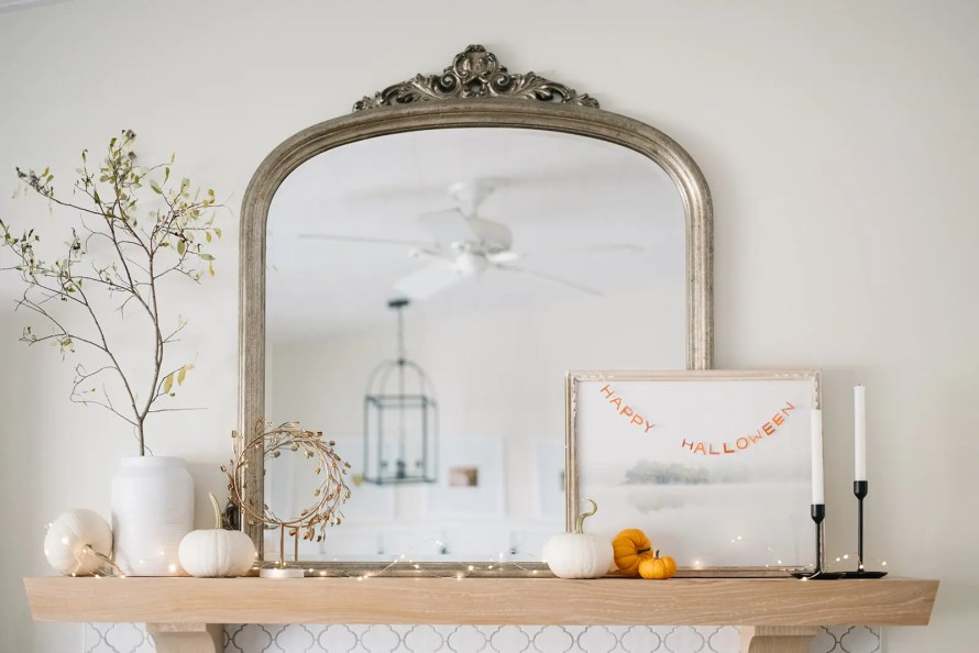 A Simple and neutral Halloween mantle - Subtle Halloween Decor