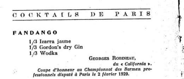 1929 Cocktails de Paris - Fandango Cocktail