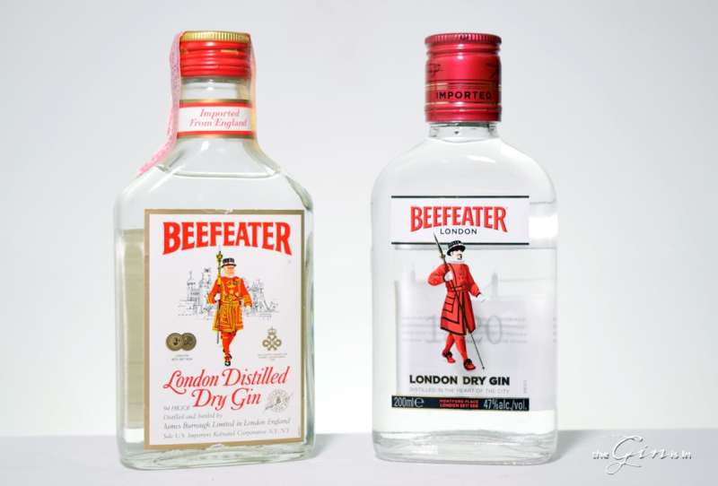 Vintage Beefeater and Modern Beefeater, side by side