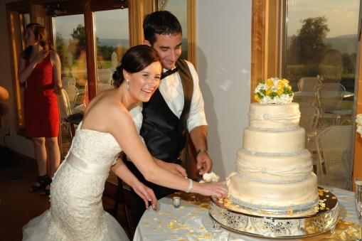 Reception cake cutting – Photo credit Baker Photography