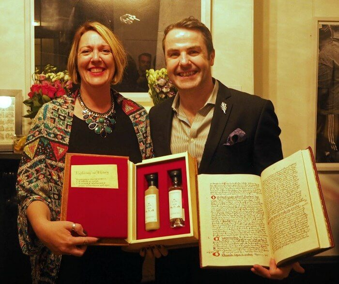 Philip Duff and I with the two gins and a reproduction of the recipe manuscript