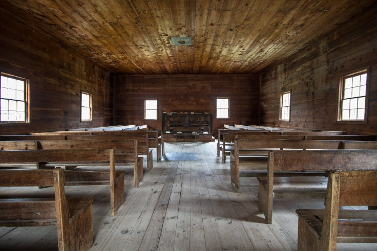 Historical Smoky Mountain Baptist Church. Interior of the historical Cades Cove Primitive Baptist Church in the Great Smoky Mountains National Park.