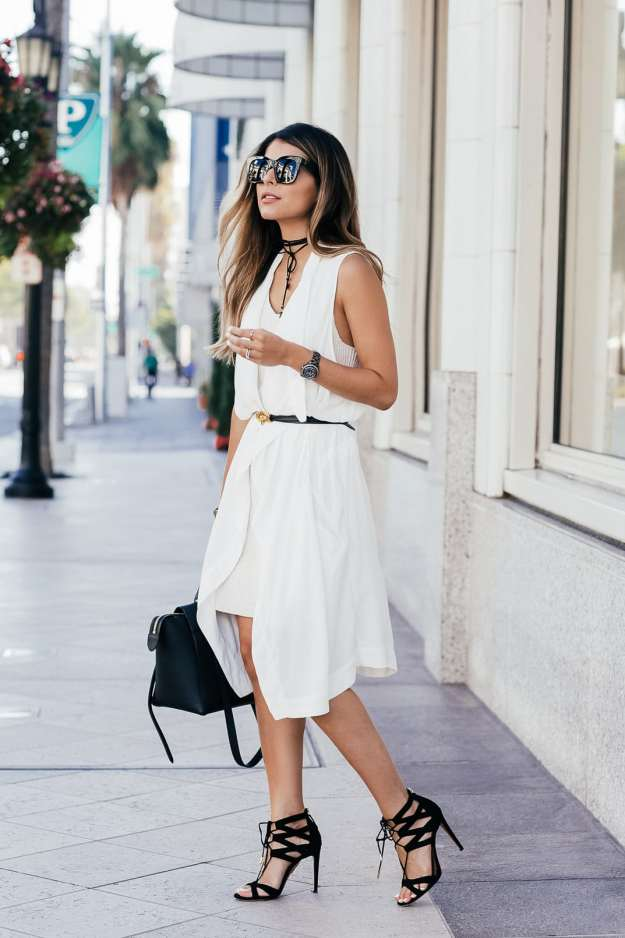 White on White Look- White Sweater Dress, White Vest, Aquazzura Beverly Hills Sandals, Celine Belt Bag | The Girl From Panama @pamhetlinger