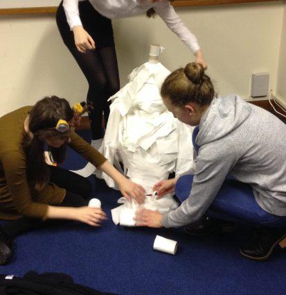 Senior Section members being Mummified...