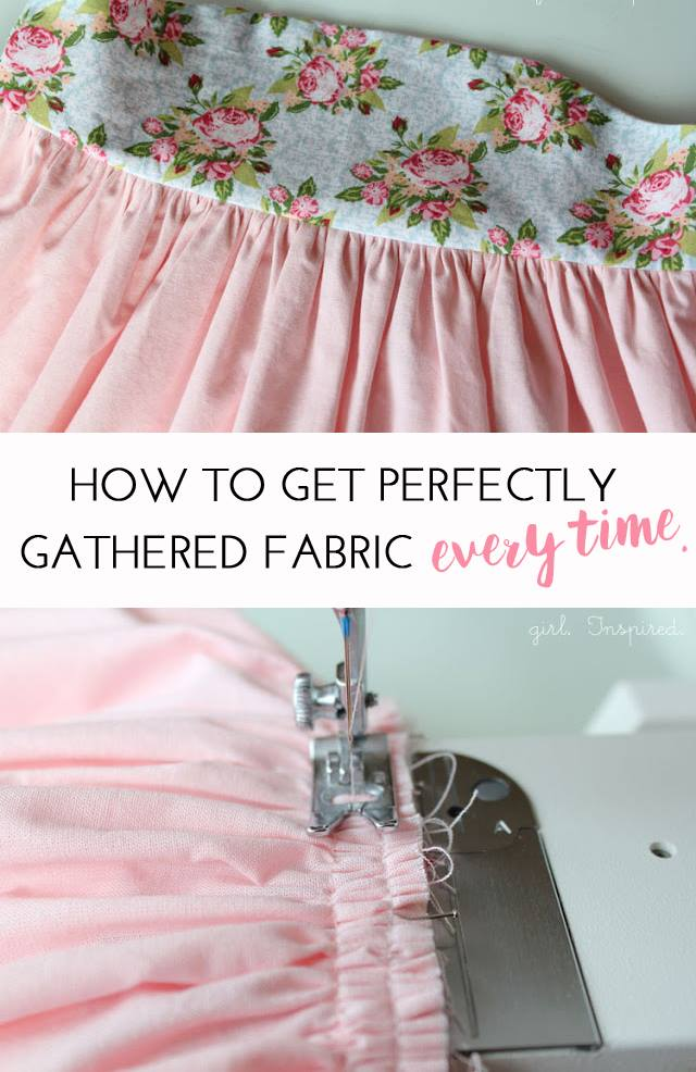 pink and floral fabric with gathering stitch and text overlay