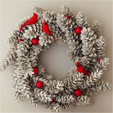 pinecone wreath with red cardinals
