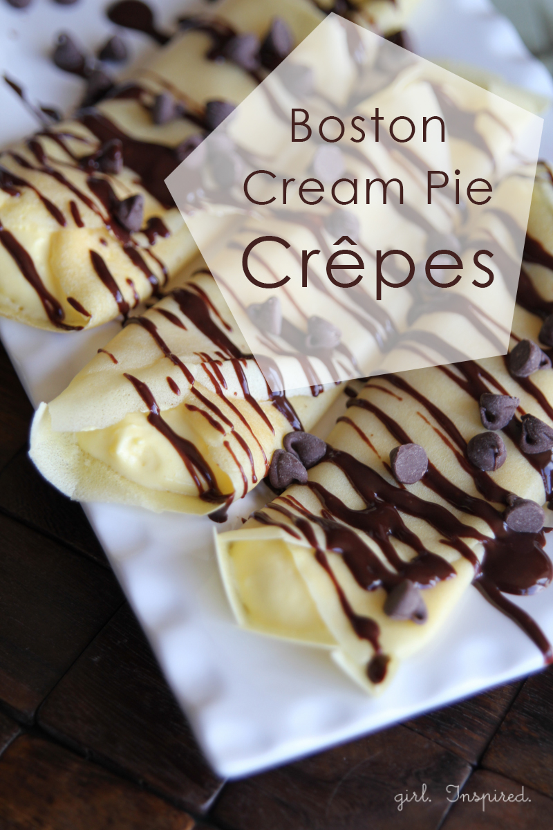 Boston Cream Pie Dessert Crepes - perfect for special occasions, bridal showers, anniversaries
